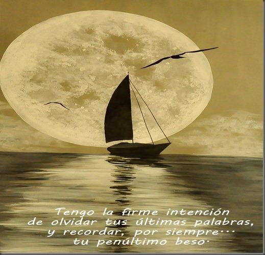 luna, velero y mar